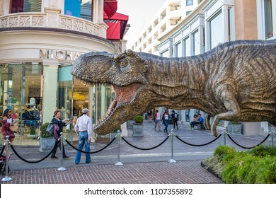Los Angeles, CA: May 6, 2018:  Promotional T-red for the upcoming film Jurassic World: Fallen Kingdom, at The Grove shopping center.  Jurassic World: Fallen Kingdom opens June 22.