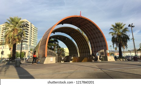 LOS ANGELES, CA, NOV 2017: early morning view of distinctive colorful, concentric arches mark entrance to the North Hollywood LA Metro station, where the Red Line subway terminates