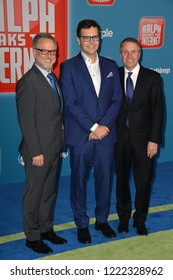 """LOS ANGELES, CA. November 05, 2018: Rich Moore, Phil Johnston & Clark Spencer at the world premiere of """"Ralph Breaks The Internet"""" at the El Capitan Theatre.Picture: Paul Smith/Featureflash"""