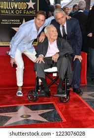 LOS ANGELES, CA. November 06, 2018: Kirk Douglas, Michael Douglas & Cameron Douglas at the Hollywood Walk of Fame Star Ceremony honoring actor Michael Douglas.