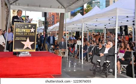 LOS ANGELES, CA. November 06, 2018: Michael Douglas & Kirk Douglas at the Hollywood Walk of Fame Star Ceremony honoring actor Michael Douglas.