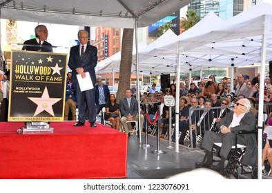 LOS ANGELES, CA. November 06, 2018: Ron Meyer, Michael Douglas & Kirk Douglas at the Hollywood Walk of Fame Star Ceremony honoring actor Michael Douglas.