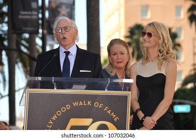 LOS ANGELES, CA - NOVEMBER 1, 2010: Bruce Dern, Diane Ladd their daughter Laura Dern on Hollywood Boulevard where they each were honored with a star on the Hollywood Walk of Fame.