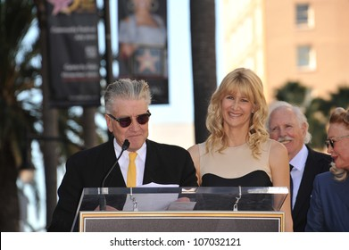 LOS ANGELES, CA - NOVEMBER 1, 2010: Laura Dern & David Lynch on Hollywood Boulevard where, together with her parents Bruce Dern & Diane Ladd, she was honored with a star on the Hollywood Walk of Fame