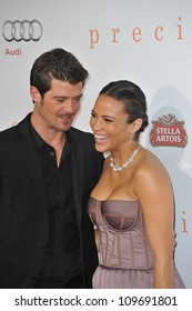 """LOS ANGELES, CA - NOVEMBER 1, 2009: Paula Patton & husband Robin Thicke at the Los Angeles premiere of her new movie """"Precious"""" at Grauman's Chinese Theatre, Hollywood."""