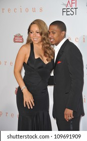 """LOS ANGELES, CA - NOVEMBER 1, 2009: Mariah Carey & husband Nick Cannon at the Los Angeles premiere of her new movie """"Precious"""" at Grauman's Chinese Theatre, Hollywood."""