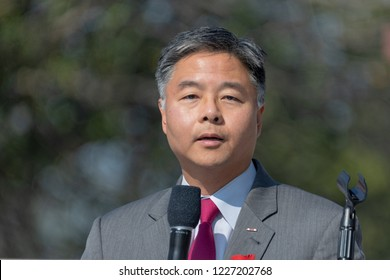 LOS ANGELES, CA - NOVEMBER 11, 2018: Representative Ted Lieu speaking to veterans  attending Veterans Day ceremonies at the Los Angeles National Cemetery.