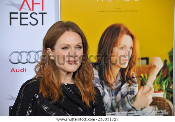 """LOS ANGELES, CA - NOVEMBER 12, 2014: Julianne Moore at the premiere of her movie """"Still Alice"""" as part of the AFI FEST 2014 at the Dolby Theatre, Hollywood."""