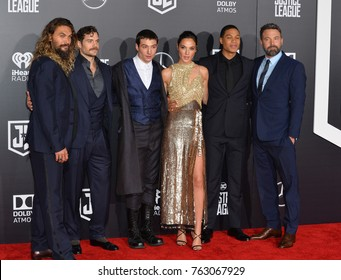 "LOS ANGELES, CA - November 13, 2017: Jason Momoa, Henry Cavill, Ezra Miller, Gal Gadot, Ray Fisher, Ben Affleck at the world premiere for ""Justice League"" at The Dolby Theatre, Hollywood"