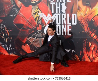 "LOS ANGELES, CA - November 13, 2017: Ezra Miller at the world premiere for ""Justice League"" at The Dolby Theatre, Hollywood"