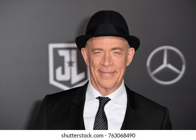 """LOS ANGELES, CA - November 13, 2017: J. K. Simmons at the world premiere for """"Justice League"""" at The Dolby Theatre, Hollywood"""
