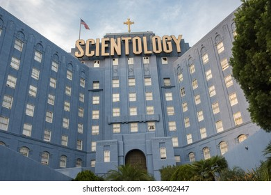 Los Angeles, CA: November 15, 2016: Church of Scientology building in Los Angeles. Scientology is a religion that was created in 1954 by science fiction author L. Ron Hubbard.