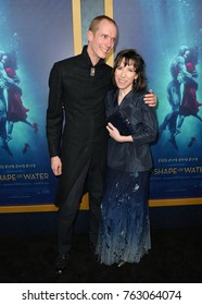 "LOS ANGELES, CA - November 15, 2017: Sally Hawkins & Doug Jones at the Los Angeles premiere of ""The Shape of Water"" at the Academy of Motion Picture Arts & Sciences"