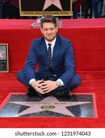 LOS ANGELES, CA. November 16, 2018: Michael Buble at the Hollywood Walk of Fame Star Ceremony honoring singer Michael Bublé.