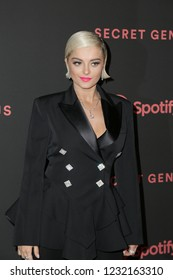 LOS ANGELES, CA - NOVEMBER 16: Bebe Rexha arrives at Spotify's Second Annual Secret Genius Awards held at Ace Hotel on November 16, 2018 in Los Angeles, California.