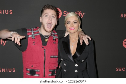 LOS ANGELES, CA - NOVEMBER 16: Bebe Rexha and Bazzi arrive at Spotify's Second Annual Secret Genius Awards held at Ace Hotel on November 16, 2018 in Los Angeles, California.
