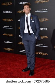 "LOS ANGELES, CA - NOVEMBER 16, 2015: Actor Sam Claflin at the premiere of ""The Hunger Games: Mockingjay - Part 2"""