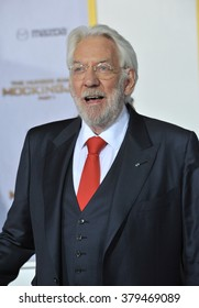 """LOS ANGELES, CA - NOVEMBER 17, 2014: Donald Sutherland at the Los Angeles premiere of his movie """"The Hunger Games: Mockingjay Part One"""" at the Nokia Theatre LA Live."""
