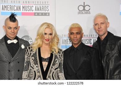 LOS ANGELES, CA - NOVEMBER 18, 2012: Gwen Stefani & No Doubt at the 40th Anniversary American Music Awards at the Nokia Theatre LA Live.