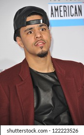 LOS ANGELES, CA - NOVEMBER 18, 2012: J. Cole at the 40th Anniversary American Music Awards at the Nokia Theatre LA Live.