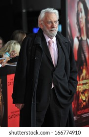 """LOS ANGELES, CA - NOVEMBER 18, 2013: Donald Sutherland at the US premiere of his movie """"The Hunger Games: Catching Fire"""" at the Nokia Theatre LA Live."""
