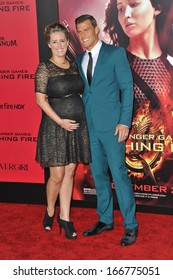 "LOS ANGELES, CA - NOVEMBER 18, 2013: Alan Ritchson & wife at the US premiere of his movie ""The Hunger Games: Catching Fire"" at the Nokia Theatre LA Live."