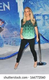 "LOS ANGELES, CA - NOVEMBER 19, 2013: Kendra Wilkinson at the premiere of Disney's ""Frozen"" at the El Capitan Theatre, Hollywood."