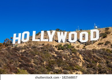 LOS ANGELES, CA - NOVEMBER 19, 2013: Hollywood sign white letters located on Mount Lee on November 19, 2013 in Los Angeles, California, USA
