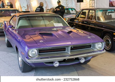 Los Angeles, CA - November 19, 2014: Plymouth Barracuda convertible on display on display at the LA Auto Show