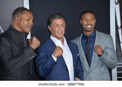 "LOS ANGELES, CA - NOVEMBER 19, 2015: Actors Sylvester Stallone & Michael B. Jordan with Carl Weathers (left) at the Los Angeles World premiere of ""Creed"" at the Regency Village Theatre, Westwood."