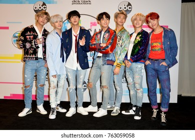 LOS ANGELES, CA - November 19, 2017: BTS at the 2017 American Music Awards at the Microsoft Theatre LA Live