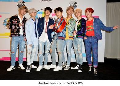 LOS ANGELES, CA - November 19, 2017: BTS at the 2017 American Music Awards at the Microsoft Theatre LA Live