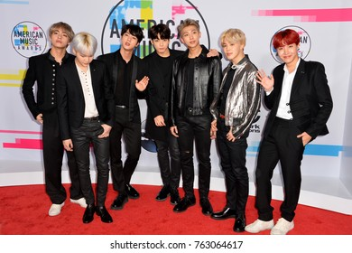 LOS ANGELES, CA - November 19, 2017: BTS - Jungkook, Jimin, V, Suga, Jin, J-Hope, Rap Monster at the 2017 American Music Awards at the Microsoft Theatre LA Live