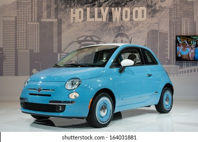 LOS ANGELES, CA. NOVEMBER 20: Fiat 500 1957 Edition on display in  LA Auto Show at the L.A. Convention Center on November 20, 2013 in Los Angeles, CA