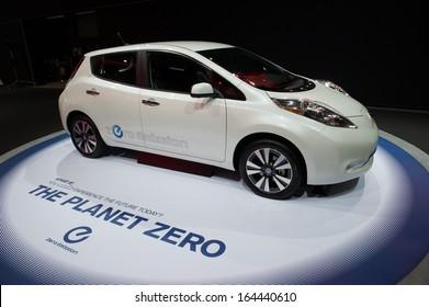 LOS ANGELES, CA - NOVEMBER 20: A Nissan Leaf zero emission vehicle on exhibit at the Los Angeles Auto Show in Los Angeles, CA on November 20, 2013