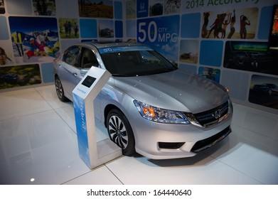 LOS ANGELES, CA - NOVEMBER 20: A Honda Accord Hybrid on exhibit at the Los Angeles Auto Show in Los Angeles, CA on November 20, 2013