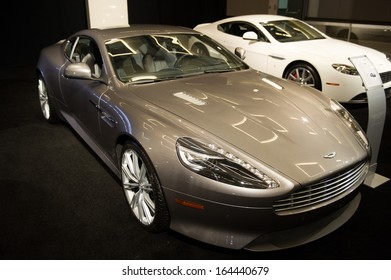 LOS ANGELES, CA - NOVEMBER 20: An Aston Martin DB9 on exhibit at the Los Angeles Auto Show in Los Angeles, CA on November 20, 2013