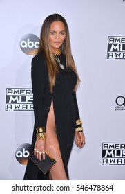 LOS ANGELES, CA. November 20, 2016: Model Chrissy Teigen at the 2016 American Music Awards at the Microsoft Theatre, LA Live.