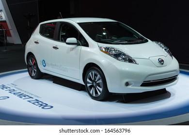 LOS ANGELES, CA - NOVEMBER 20:Nissan Leaf zero emission car on display at the LA Auto Show at the L.A. Convention Center on November 20, 2013 in Los Angeles, CA