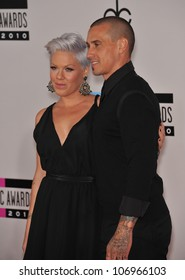 LOS ANGELES, CA - NOVEMBER 21, 2010: Pink & boyfriend at the 2010 American Music Awards at the Nokia Theatre L.A. Live.
