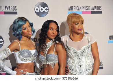 LOS ANGELES, CA - NOVEMBER 24, 2013: Lil Mama with TLC in the pressroom at the 2013 American Music Awards at the Nokia Theatre, LA Live.