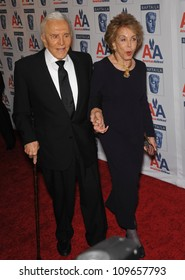 LOS ANGELES, CA - NOVEMBER 5, 2009: Honoree Kirk Douglas & wife Anne at the 18th Annual BAFTA/LA Britannia Awards at the Hyatt Century Plaza Hotel, Century City.