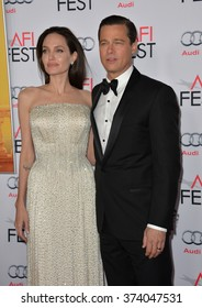 """LOS ANGELES, CA - NOVEMBER 5, 2015: Actress/writer/director Angelina Jolie & actor husband Brad Pitt at the AFI Festival premiere of their movie """"By the Sea"""" at the TCL Chinese Theatre, Hollywood."""