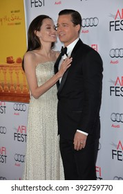 """LOS ANGELES, CA - NOVEMBER 5, 2015: Actress/writer/director Angelina Jolie & actor husband Brad Pitt at the AFI Festival premiere of their movie """"By the Sea"""" at the TCL Chinese Theatre"""