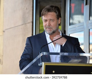 LOS ANGELES, CA - NOVEMBER 5, 2015: Actor Russell Crowe on Hollywood Boulevard where director Ridley Scott was honored with a star on the Walk of Fame