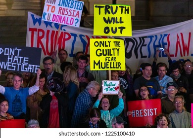 LOS ANGELES, CA - NOVEMBER 8, 2018: Protesters gather around Los Angeles City Hall to protest President Trump and the possible firing of Robert Mueller.