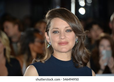"""LOS ANGELES, CA. November 9, 2016: Actress Marion Cotillard at a special fan screening for """"Allied"""" at the Regency Village Theatre, Westwood."""
