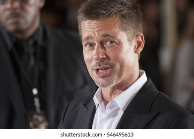 """LOS ANGELES, CA. November 9, 2016: Actor Brad Pitt at a special fan screening for """"Allied"""" at the Regency Village Theatre, Westwood."""