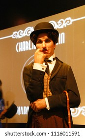 LOS ANGELES, CA - Oct 28, 2013:Wax figure of Sir Charles Spencer Charlie Chaplin, English comic actor in Madame Tussauds Wax museum in Hollywood.