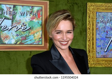 "LOS ANGELES, CA. October 04, 2018: Emilia Clarke at the Los Angeles premiere for ""My Dinner With Herve"" at Paramount Studios."